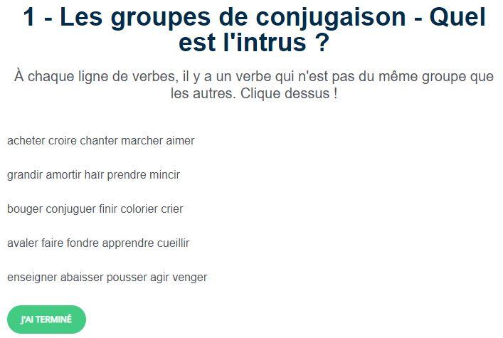 Les Groupes De Conjugaison Quel Est L Intrus Conjugaison Exercices Conjugaison Verbe