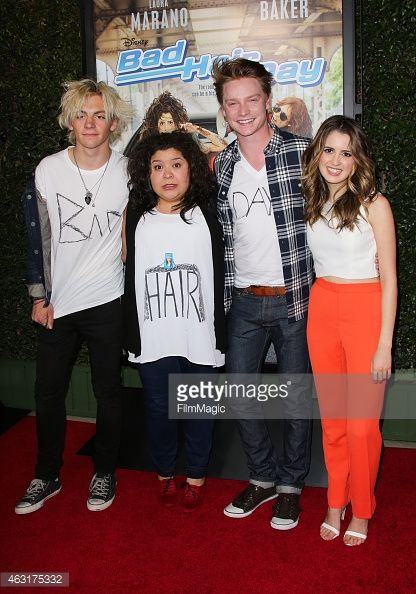 Actors Ross Lynch, Raini Rodriguez, Calum Worthy and Laura Marano attend the Los Angeles premiere of 'Bad Hair Day' a Disney Channel original movie at Walt Disney Studios on February 10, 2015 in Burbank, California.