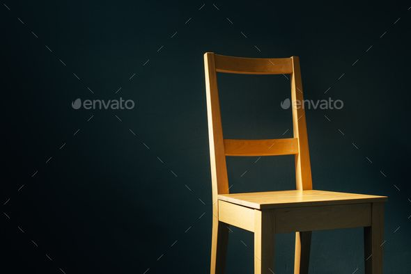 Empty Wooden Chair In Dark Room Wooden Chair Dark Room Chair