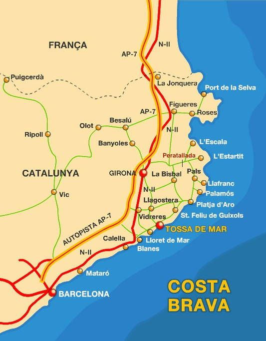 Map Of The Costa Brava As You Can See The Villa Is Very Close From The Coast At 20min From The