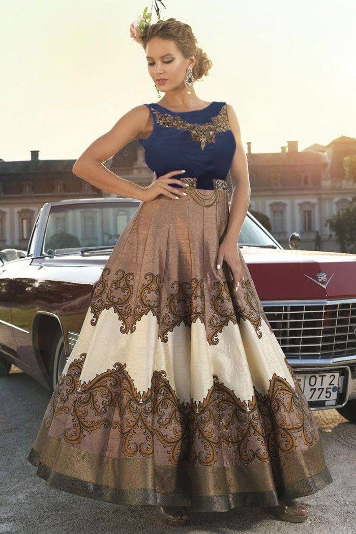 Brown Bhagalpuri Silk Designer Salwar Suit Online @SareeGalaxy