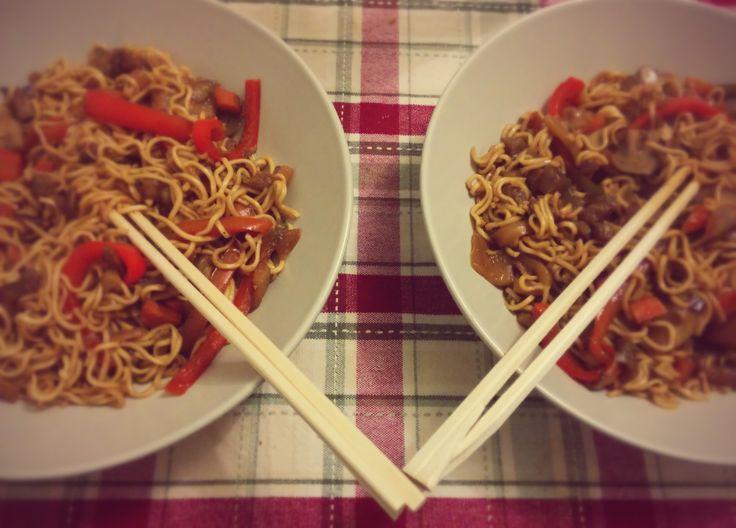 Fideos chinos al Wok con Verduras