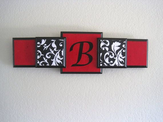 Personalized Custom Wall HangingDamask' Red' Black by DREAMATHEME, $40.00.... would look good in the dining room