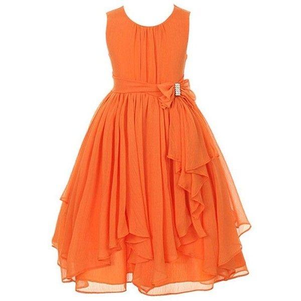 DressForLess Yoryu Chiffon Asymmetric Ruffled Flower Girl Dress ($36) ❤ liked on Polyvore featuring dresses, orange cocktail dress, orange flower dress, chiffon dresses, chiffon cocktail dresses and blossom dress