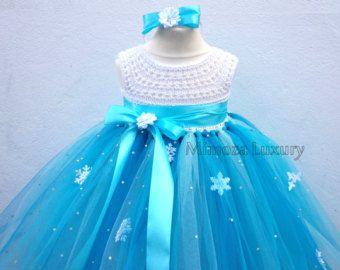Elsa Deluxe Princess dress, turquoise tutu dress, frozen themed birthday party, Elsa Frozen princess dress Frozen costume outfit Elsa disney by MimozaLuxury