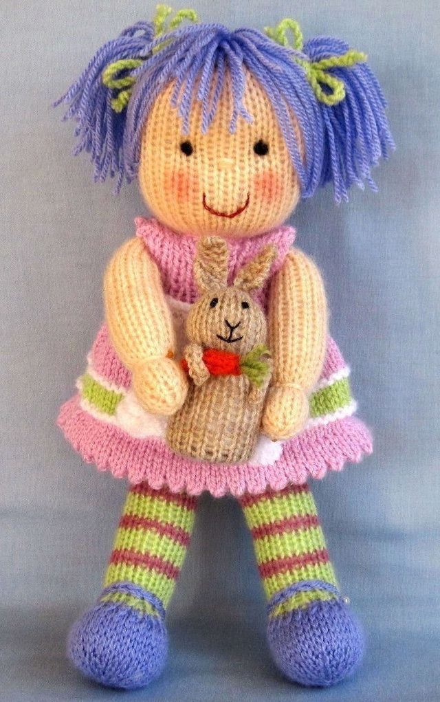 Lucy Lavender and bunny knitting pattern - Pdf INSTANT DOWNLOAD - knitted doll… …