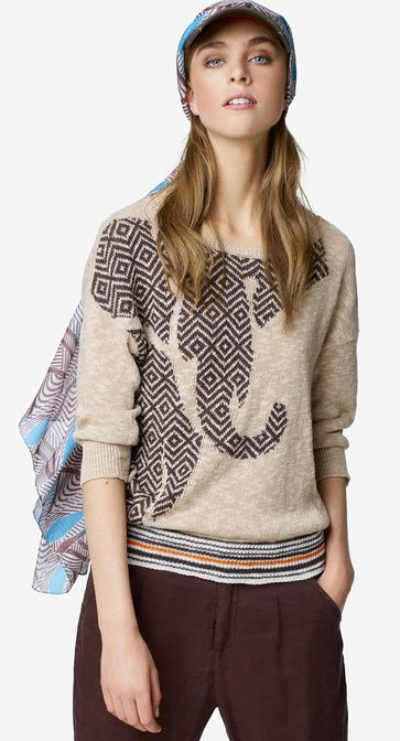 Sweater with maxi inlay #SS17 by United Colors of #Benetton #woman collection