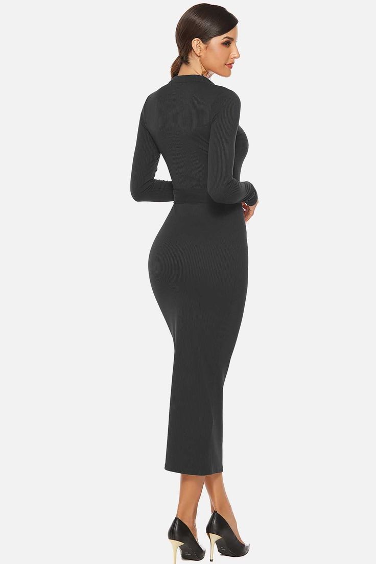 Black Tied Waist Zipper Up Ribbed Casual Plus Size Midi Knitted ...