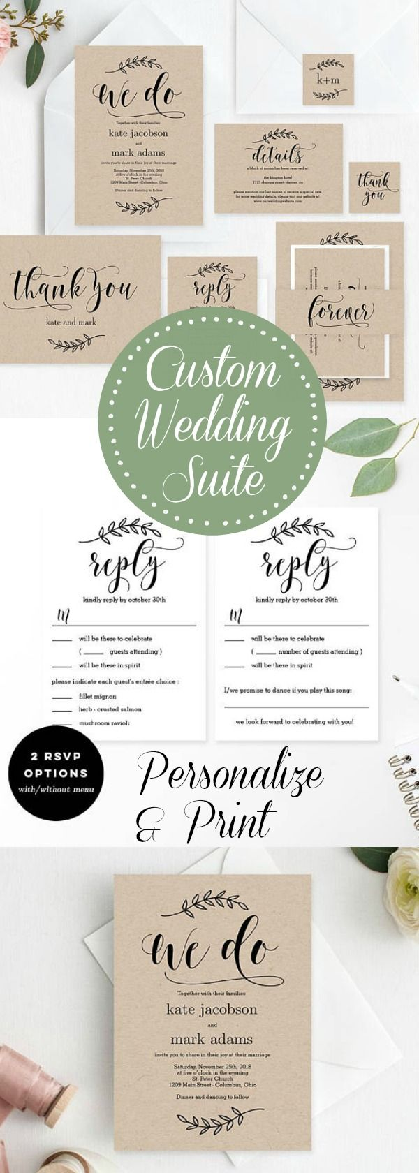 sample wording for rsvp wedding invitations%0A Rustic Elegance Wedding Suite   This printable wedding invitation template  set is an easy and affordable way to create your own stylish wedding suite