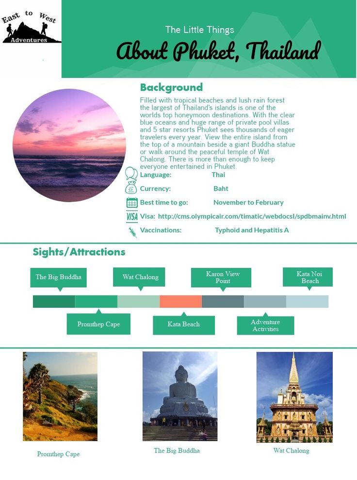 A travel cheat sheet for a quick guide to the beautiful tropical island of Phuket in Thailand. One of the largest most popular islands in south east Asia it is perfect for a romantic honeymoon or family holiday. Relax in your own private villa with your own private pool and tour the island at your own pace.  This cheat sheet shows all your pre travel information and what you need to know before visiting the island. Also covers what to do once you get there.