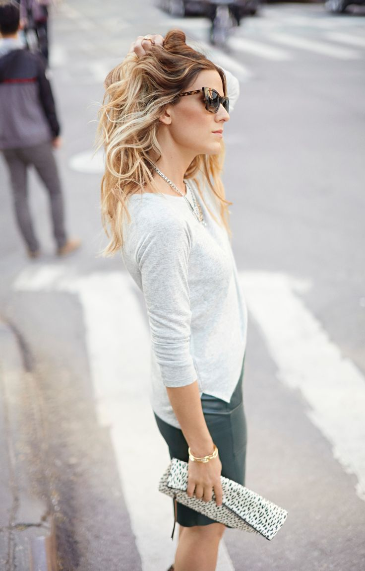Get @EdenEats' street chic look by pairing our favorite grey boatneck tee with our sleek green leather skirt | Banana Republic