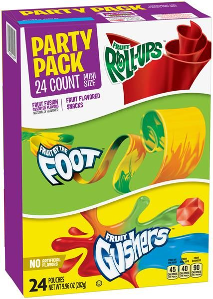 Party Pack-Fruit Roll Ups,Fruit By The Foot & Fruit Gushers