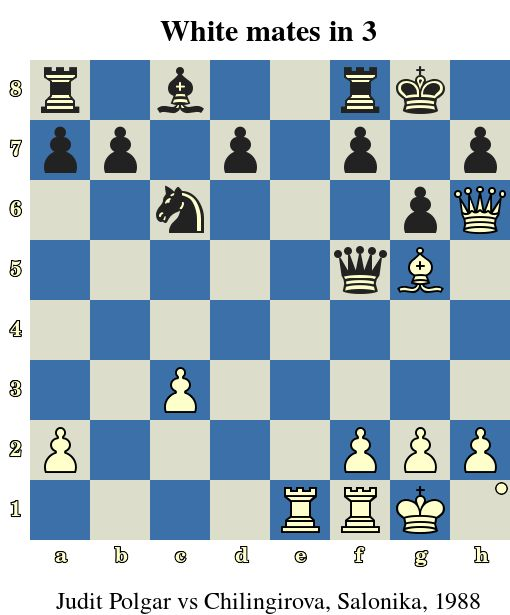 White mates in 3. Judit Polgar vs Pavlina Chilingirova, Salonika, 1988 www.jouer-aux-echecs.com #echecs #chess #schach #ajedrez #xadrez