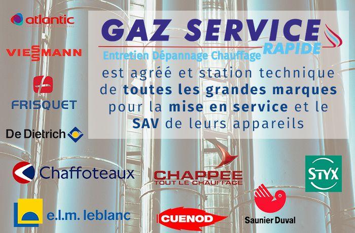 Visuel Gaz service rapide comme station technique des grandes marques de chaudière