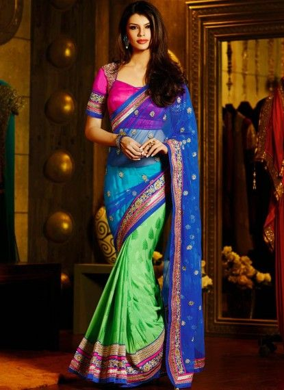 Eyeful Blue & Green Net & Jacquard Saree