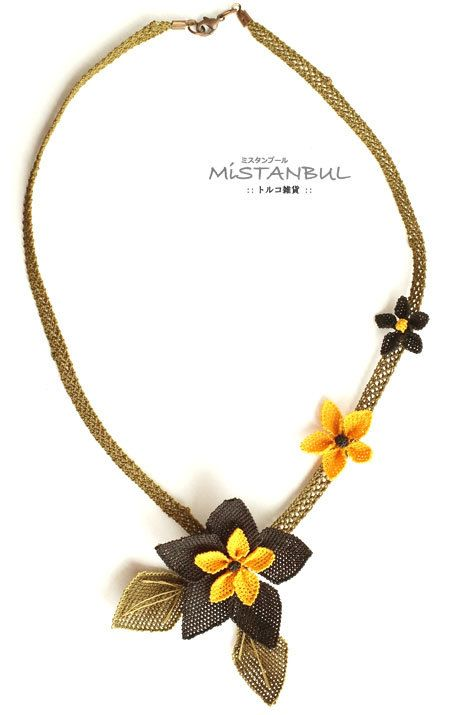 Silk needle lace igne oya necklace black flower by MiSTANBULcom