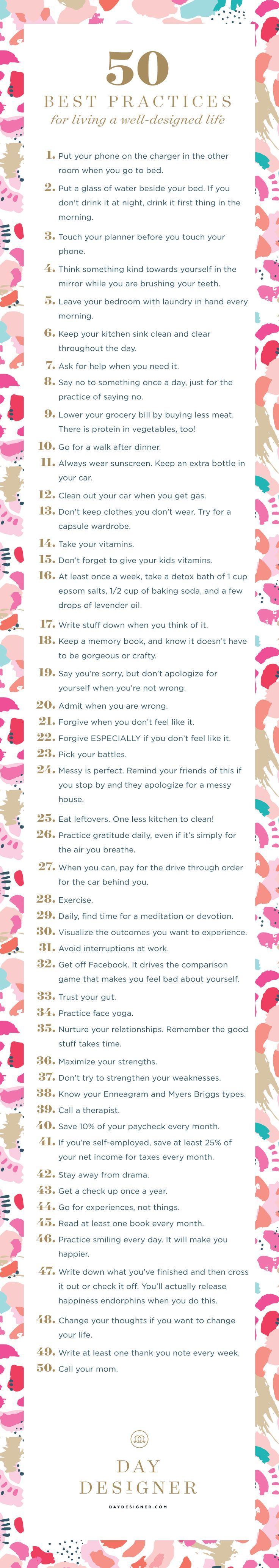 Touch your planner before you touch your phone, practice gratitude, and 48 other ways to live your best life. Also offered as a free printable!