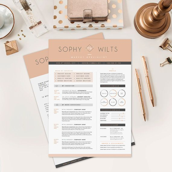 """Resume Template / CV Template + Cover Letter for Word ( 3 page pack ) 