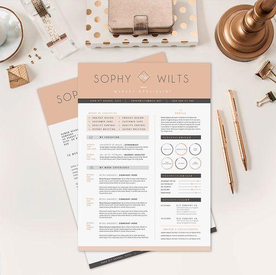 Resume CV Design  Cover Letter Template for Word  by OddBitsStudio, $18.80