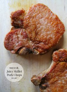 These juicy skillet pork chops are perfect for a quick weeknight dinner!