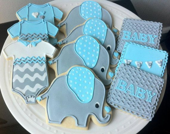 Decorated Elephant Themed Baby Shower Cookies- Custom Grey, Blue, and White Chevrons, Onesies, Personalized Pennants via Etsy