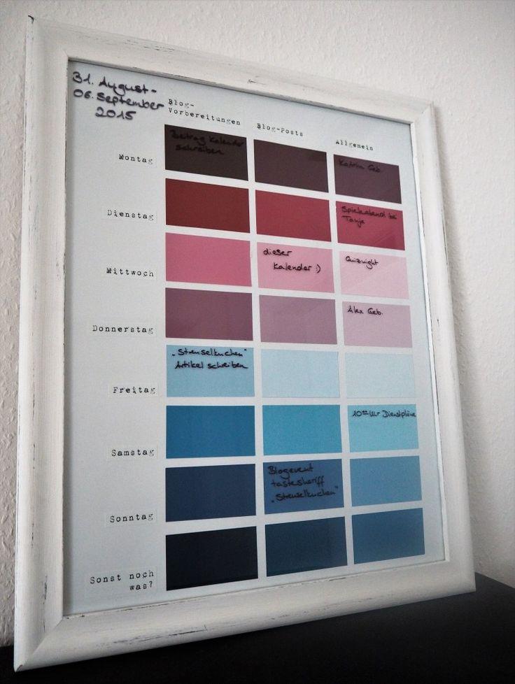 Wandkalender/Wochenkalender mit Farbkarten