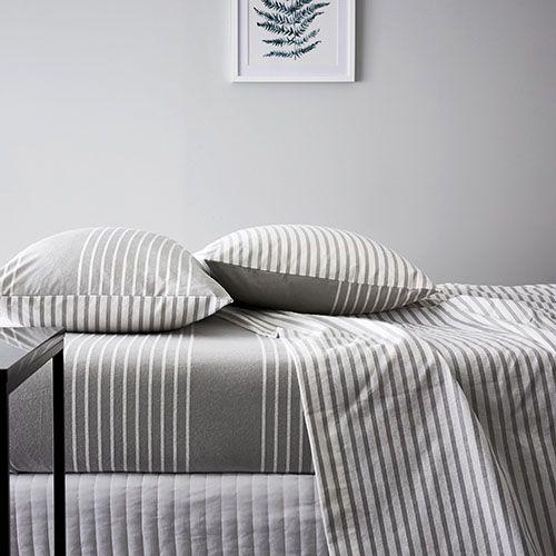 Stripe Flannelette Sheet Set Grey