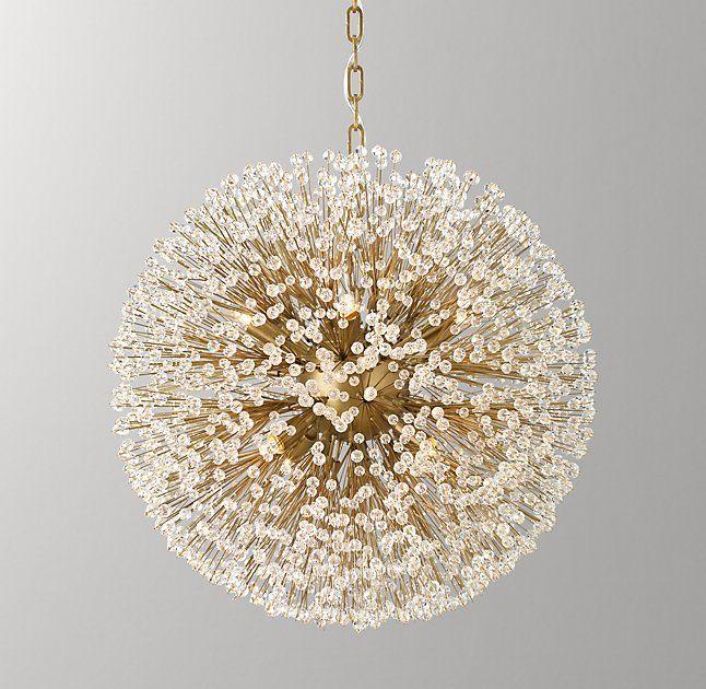 Arora crystal large pendant antiqued brass rh babyliving room lightingroom lightsfaceted