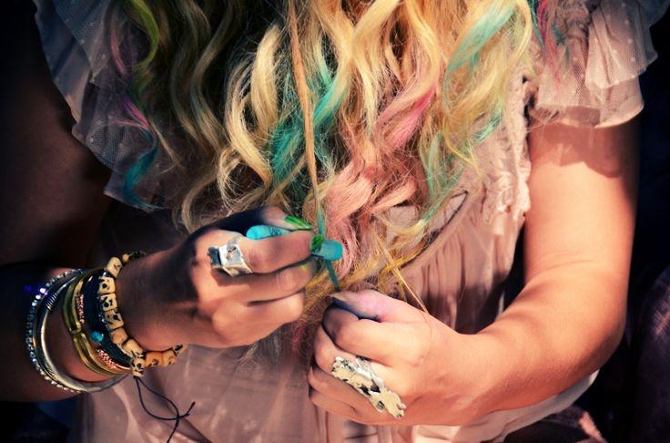 pastel chalk hair tips