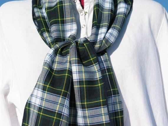 Navy and Green Gordon Dress Tartan Scarf for by dolldressedup