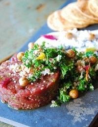 A Lebanese twist on lamb tartare at Homestead (Chicago).