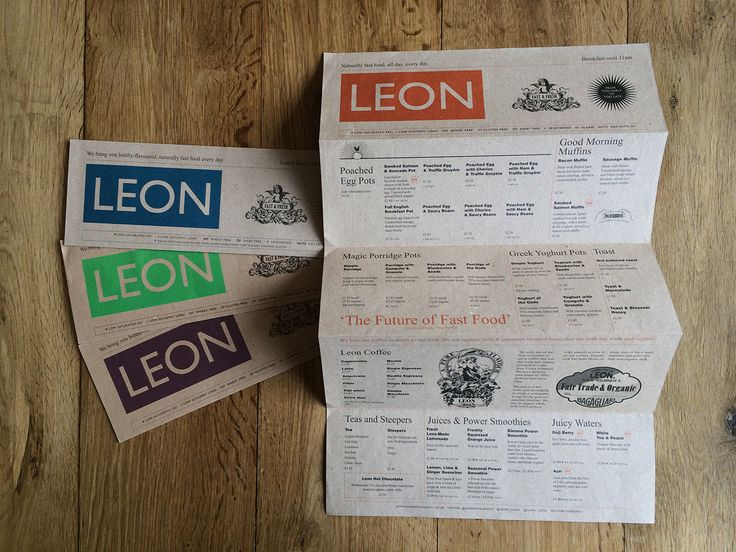 Leon seasonal menus - redesigns every four months.