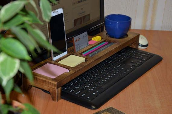 Vintage Desk Organizer, Gift for him, Wood Desktop Organizer, Home Organizer, Boyfriend Gift, Bamboo Desk Organizer