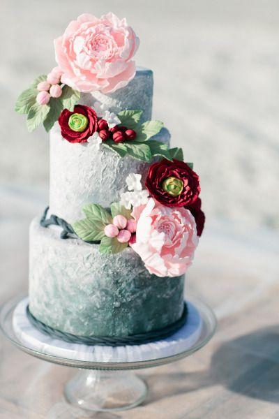 Coastal inspired ombre cake: http://www.stylemepretty.com/florida-weddings/2015/05/22/spring-inspired-coastal-nuptials/ | Photography: Debra Eby - http://www.debraeby.com/