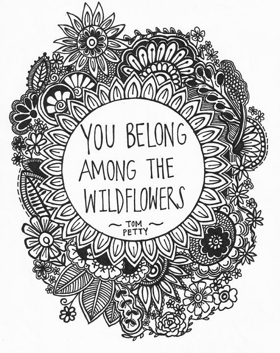 You Belong Among the Wildflowers 8.5x11 ink drawing, card-stock print via Etsy