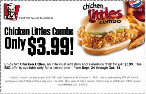 KFC Offers Chicken Littles Combo For Only $3.99!