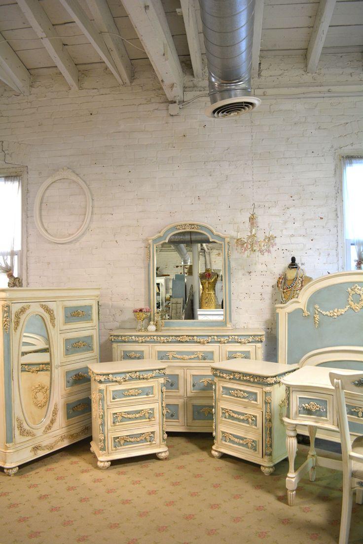 Painted Cottage Romantic French Nine Piece Bedroom Collection [AQCOL] - $3,900.00 : The Painted Cottage, Vintage Painted Furniture