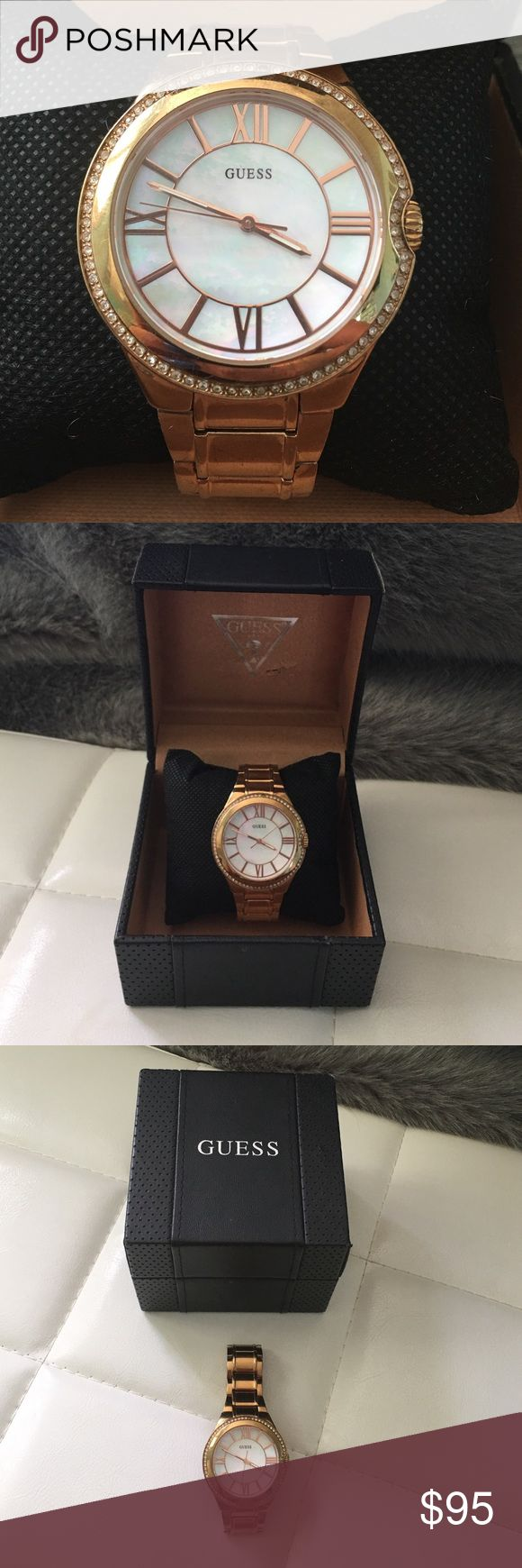 Guess Rose Gold Watch 100% Authentic Guess Women's Rose Gold Watch. Beautiful Opal Pearl face plate. Preloved but in amazing condition. Includes original Guess watch box it was purchase in. Originally paid $160! Guess Accessories Watches