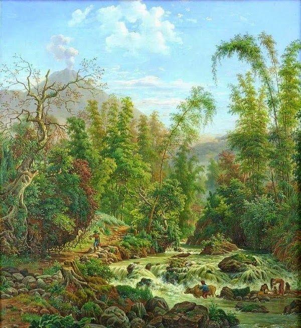 Maurits vd Kerkhoff - Air terjun di sungai Metro, Malang (1889)