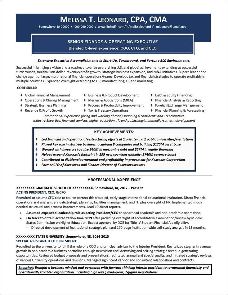 Executive resume writing examples in 2021 executive
