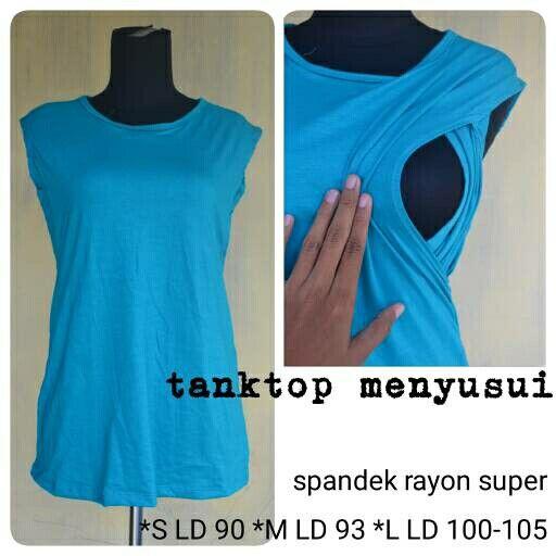 baju menyusui model tanktop bahan spandek rayon super no resleting,adem,modern.