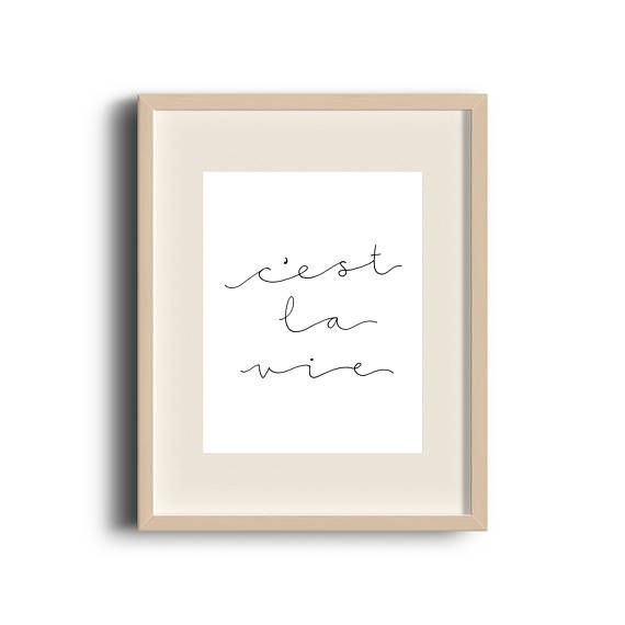 C'est La Vie | Hand Lettered Print | Hand Lettered Quote | Art Print | Calligraphy Print | French |  Typographic Print | French Quote | Etsy Store | by Élana Camille #ElanaCamilleCreates