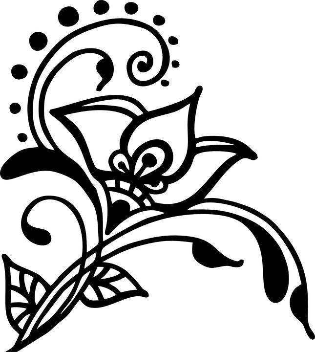 Flower, Henna, Vines, Swirl, Artwork, Silhouette