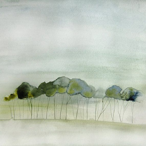 Quiet Abstract Landscape Painting Original by MaiAutumn on Etsy