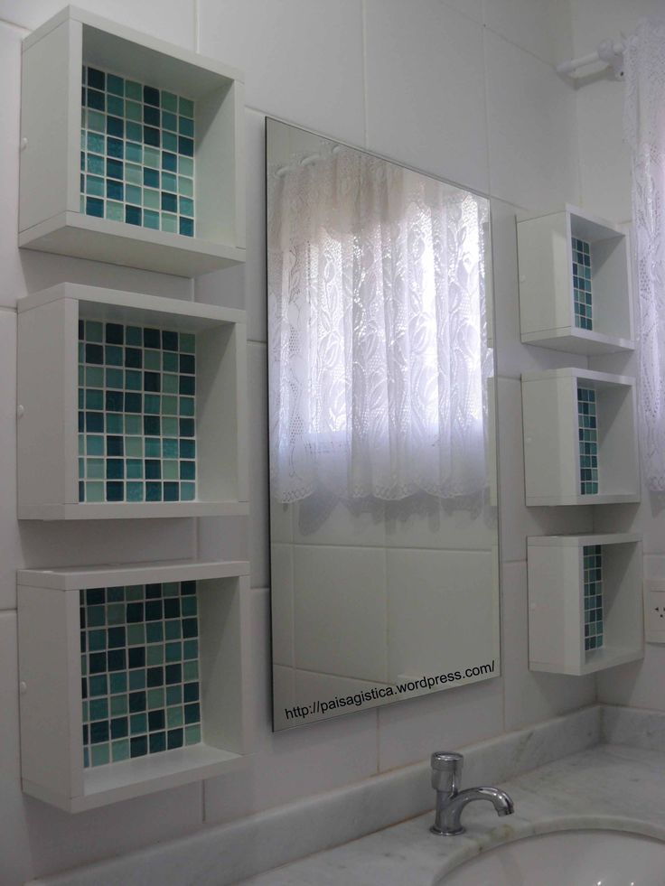 box shelves with tile background