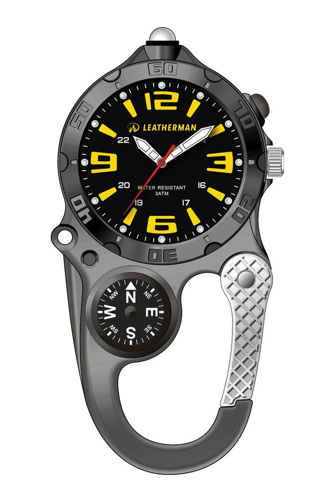 "LEATHERMAN ANALOGUE WATCH YELLOW NUMBERS AND COMPASS ""FREE POSTAGE"" YLW21BLK"