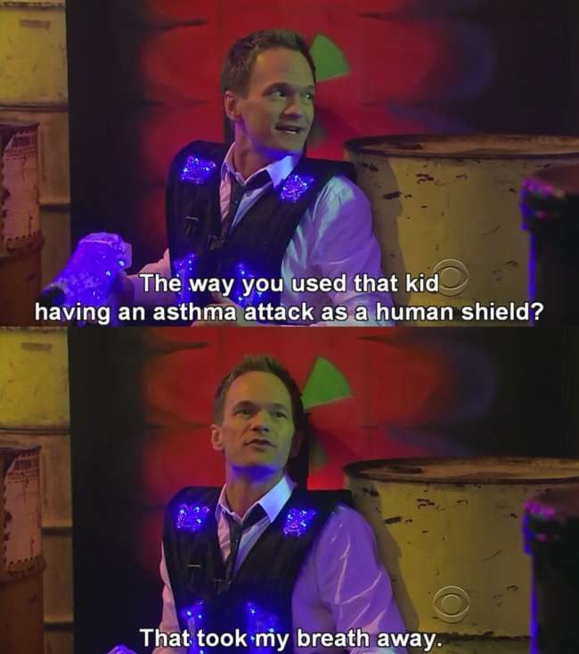 Asthma attack. Funny picture from the how i met your mother
