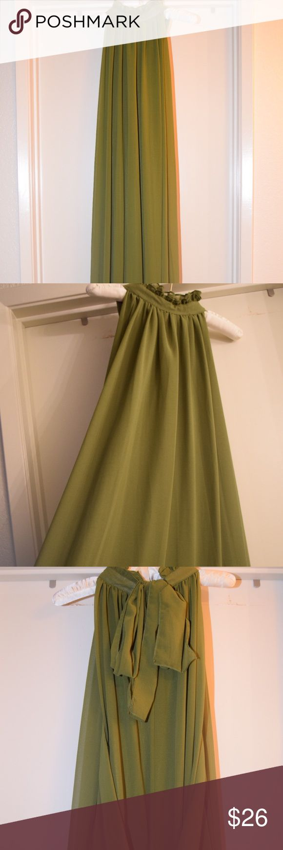Olive green maternity dress Olive green. Long and flowy. Chiffon with cotton lining. Ties from the neck and has a tie for the waist line. Looks super cute worn Dresses Maxi