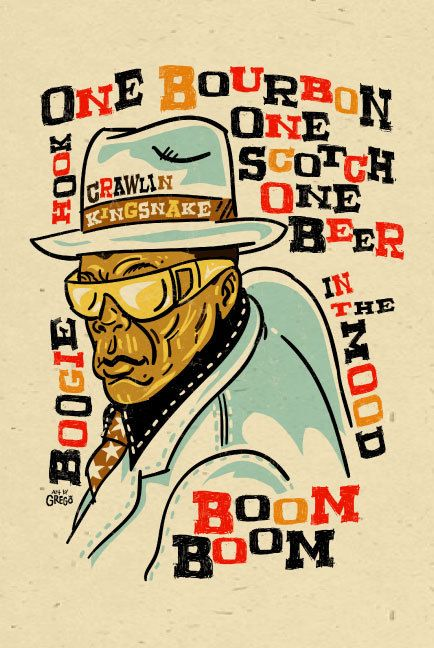 "DIY...Framed Music Art...John Lee Hooker Poster- signed by Grego - digital - blues folk art - big 12""x18"" - mojohand.com"