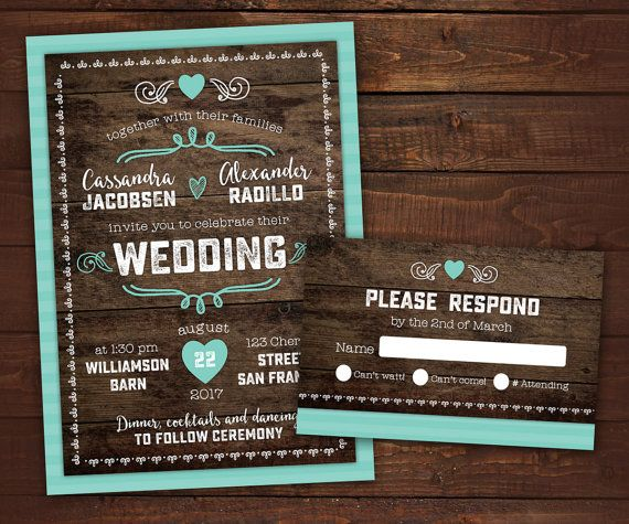 10 Country Rustic Wedding Invitations with by LittleBeesGraphics